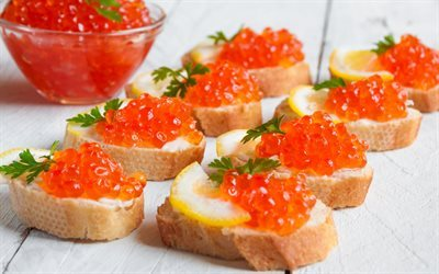 red caviar, seafood, caviar, white bread