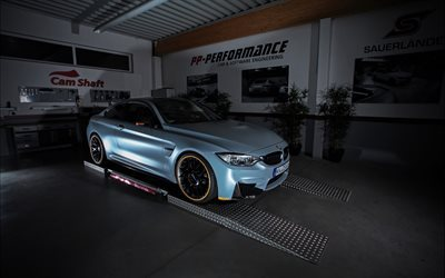 BMW M4, Coupe, F82, tuning BMW, gray M4, black wheels, garage