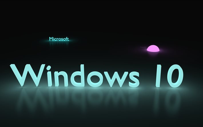 تحميل خلفيات ويندوز 10 4k شعار 3d الإبداعية النيون مايكروسوفت
