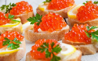 red caviar, fish dishes, fish snacks, caviar, sandwiches with red caviar