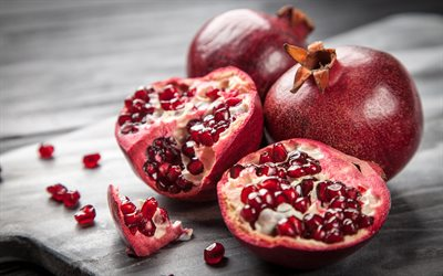 pomegranate, 4k, fruits, close-up, ripe pomegranate, macro, background with pomegranate, garnet