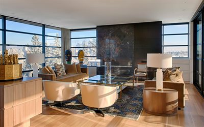 living room, stylish interior design, apartments, retro style, golden glass table