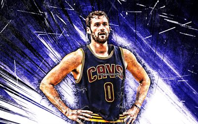 Kevin Love, NBA, grunge art, basketball stars, Cleveland Cavaliers, Kevin Wesley Love, CAVS, blue abstract rays, realtristan13, basketball, creative, Kevin Love CAVS