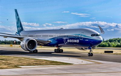 Flying Boeing 777X, airport, HDR, airplane, Boeing 777X, airliner, passenger planes, Boeing, 777X