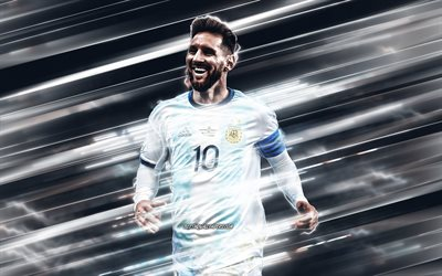 Lionel Messi, Argentina national football team, Leo Messi, Argentine soccer player, portrait, Argentina, football, lines creative background