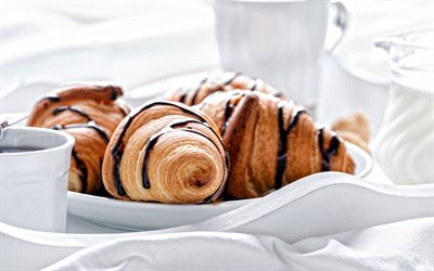 croissants, breakfast, white cup of coffee, pastries, chocolate croissants
