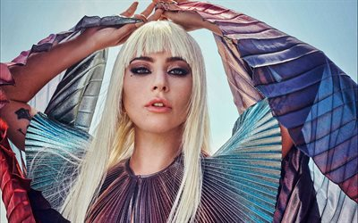 Lady Gaga, Stefani Joanne Angelina Germanotta, american singer, portrait, beautiful dress, photoshoot