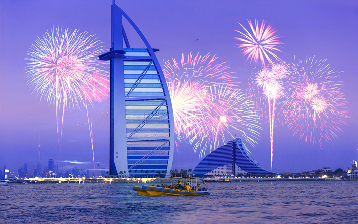 Download Wallpapers Burj Al Arab, 4k, Fireworks