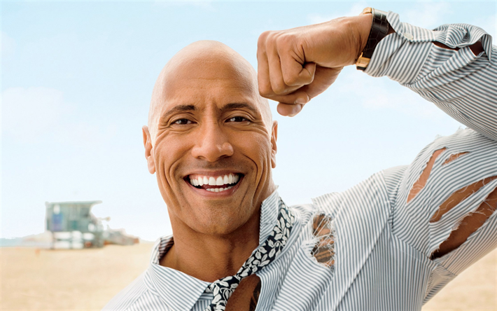 Dwayne Johnson, The Rock, American actor, portrait, smile, Hollywood, American star, photoshoot