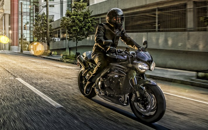 Triumph Speed Triple, 2019, black motorcycles, cool motorcycle, riding a motorcycle, Speed Triple 1500, Triumph