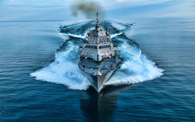 4k, USS Wichita, front view, LCS-13, littoral combat ships, sea, United States Navy, US army, battleship, LCS, US Navy, Freedom-class