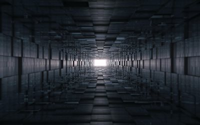 black 3d tunnel, light at the end of the tunnel, 3d cubes tunnel, 3d mine