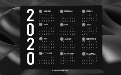 Black 2020 Calendar, all months, black abstract wave background, 2020 concepts, New Year 2020, calendars