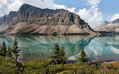 Bow Lake, summer, mountains, reflection, Banff National Park, Alberta, Canada