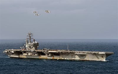 aircraft carrier, USS Ronald Reagan, CVN 76, Four E-2C Hawkeyes, US Navy, USA