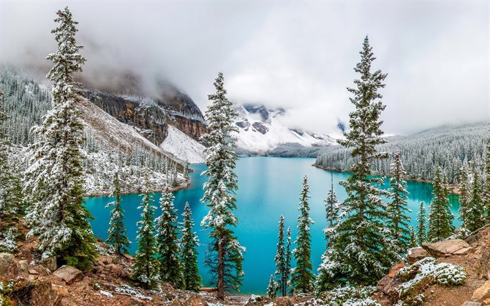 Download Wallpapers Moraine Lake Winter Fog Mountains