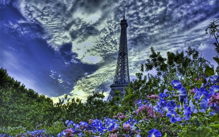 Eiffel Tower, sky, clouds, violet flowers, HDR, Paris, France