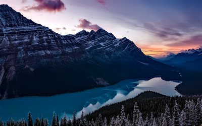 Peyto Lake, mountains, sunset, Banff National Park, Alberta, Canada