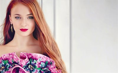 Sophie Turner, make-up, red-haired girl, beautiful girl, actress