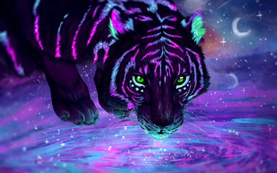 tiger, art fantastique, predators, de la faune