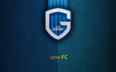 KRC Genk, 4K, Belgian Football Club, Genk FC, logo, emblem, Jupiler Pro League, leather texture, Genk, Belgium, Belgian First Division A, football