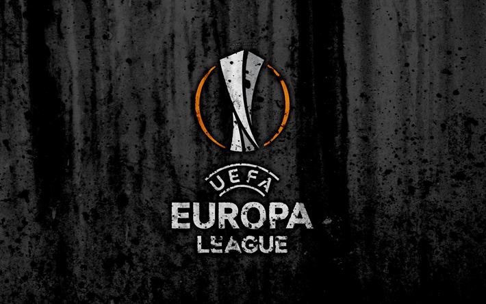 A UEFA Europa League, 4k, logo, grunge, fundo preto, Liga Europa, A UEFA, futebol