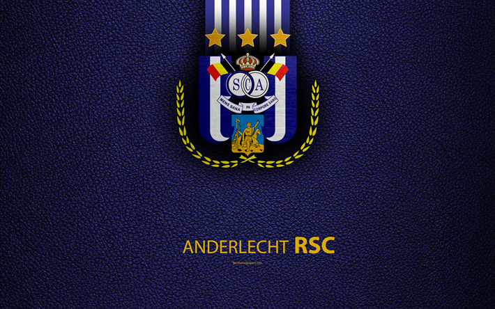 Download Wallpapers Anderlecht Fc 4k Belgian Football Club Logo Jupiler Pro League Leather Texture Anderlecht Belgium Belgian First Division A Football Rsc Anderlecht For Desktop Free Pictures For Desktop Free