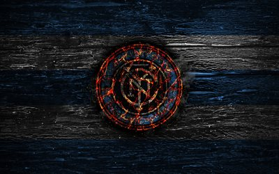 New York City FC, fire logo, MLS, blue and white lines, american football club, grunge, football, soccer, logo, NYCFC, Eastern Conference, NY City FC, wooden texture, USA