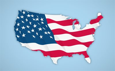 USA flag, USA map silhouette with flag, United States of America, American flag, USA, USA map