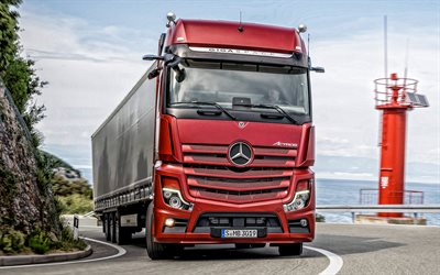 Mercedes-Benz Actros, 2019, exterior, front view, new red Actros, trucking concepts, delivery, german trucks, cargo delivery concepts, Mercedes