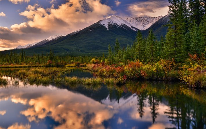 Banff National Park, sunset, Canadian Rockies, mountains, Alberta, Canada, North America, beautiful nature