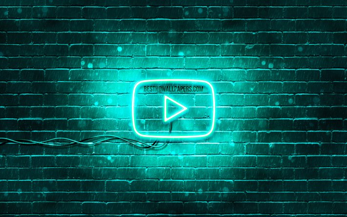 Download Wallpapers Youtube Turquoise Logo 4k Turquoise Brickwall Youtube Logo Brands Youtube Neon Logo Youtube For Desktop Free Pictures For Desktop Free