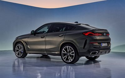 2020, BMW X6, rear view, exterior, sport SUV, new brown X6, german cars, BMW