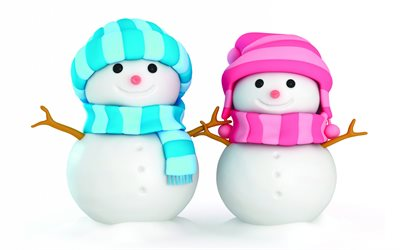two snowmen, 3D art, christmas decorations, snowman, winter, xmas backgrounds, christmas concepts, happy new year, snowmen, xmas decorations, background with snowman