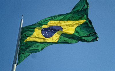 Brazil flag, blue sky, fabric flag, Brazil flag on a flagpole, Brazilian flag, South America, Flag of Brazil
