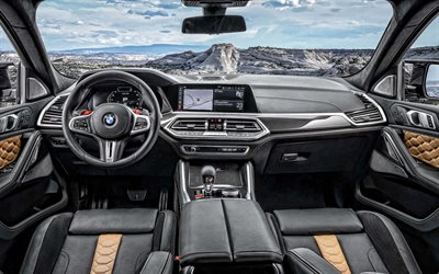 2020, BMW X6M, interior, inside view, new X6 2020 interior, sport SUV, the German cars, BMW