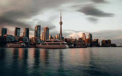 Toronto, CN Tower, evening, sunset, modern architecture, skyscrapers, Toronto cityscape, Canada