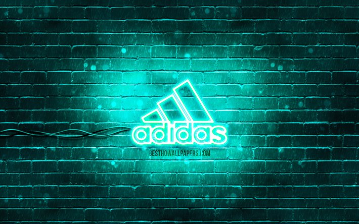 Download Wallpapers Adidas Turquoise Logo 4k Turquoise Brickwall