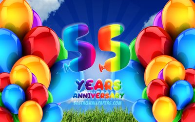 4k, 55 Years Anniversary, cloudy sky background, colorful ballons, artwork, 55th anniversary sign, Anniversary concept, 55th anniversary