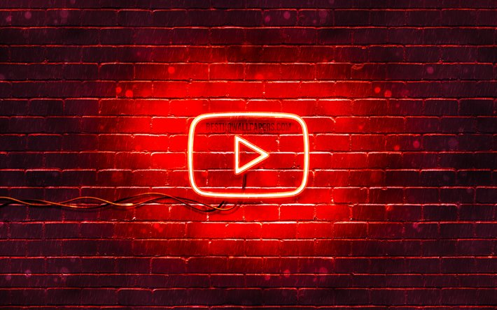 Download Wallpapers Youtube Red Logo 4k Red Brickwall