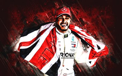 Lewis Hamilton, British racing driver, Formula 1, portrait, UK flag, World Champion, F1, creative red background