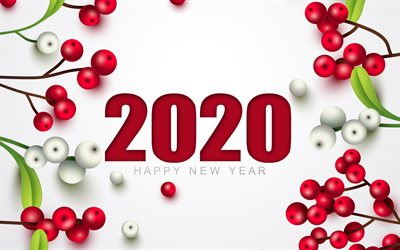 Happy New Year 2020, 4k, red berries, 2020 concepts, white background, Christmas, New Year 2020, Christmas background with berries, Happy New Year