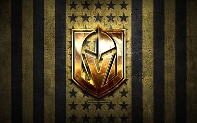 Vegas Golden Knights flag, NHL, sfondo marrone black metal, squadra di hockey americano, Vegas Golden Knights logo, USA, hockey, logo dorato, Vegas Golden Knights
