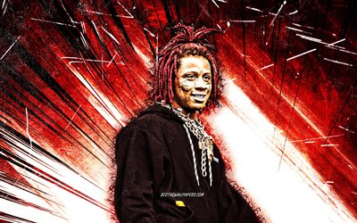 4k, Trippie Redd, grunge art, american rapper, music stars, Michael Lamar White IV, red abstract rays, american celebrity, Trippie Redd 4K