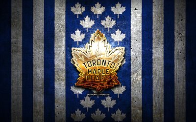 Toronto Maple Leafs bandiera, NHL, sfondo blu bianco metallo, squadra di hockey canadese, logo Toronto Maple Leafs, hockey, logo dorato, Toronto Maple Leafs