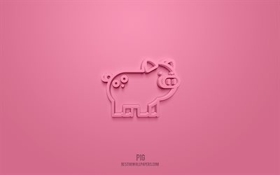 Pig 3d icon, pink background, 3d symbols, Pig, Animals icons, 3d icons, Pig sign, Animals 3d icons