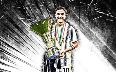 4k, Paulo Dybala with cup, grunge art, Juventus FC, Bianconeri, football stars, Paulo Dybala, argentinian footballers, Italy, Juve, Dybala, soccer, white abstract rays, Serie A