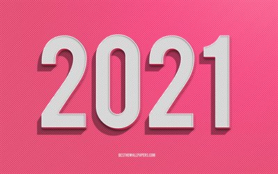 2021 New Year, 2021 Pink background, 2021 concepts, creative art, Happy New Year 2021, pink lines background