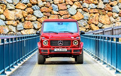 Mercedes-Benz  G 350, front view, 4k, 2020 cars, SUVs, 2020 Mercedes-Benz G-Class, Red Gelandewagen, Mercedes, Gelandewagen