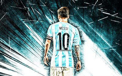 4k, Lionel Messi, back view, grunge art, Argentina national football team, football stars, blue abstract rays, Leo Messi, soccer, Messi, footballers, Argentine National Team, Lionel Messi 4K
